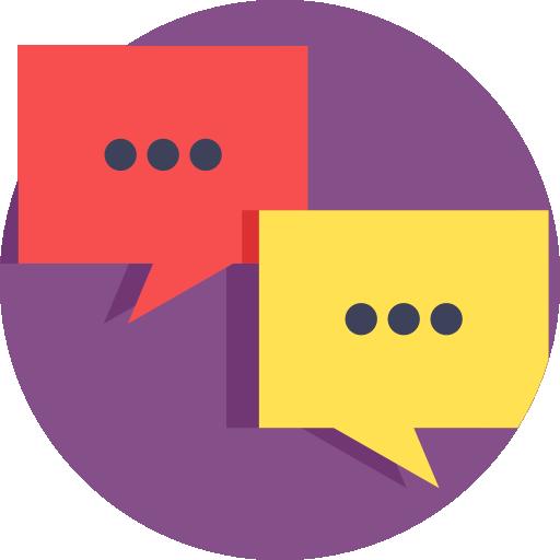 Ilustración de dos bocadillos de texto simulando una conversación