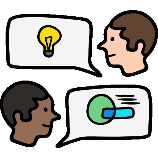 Ilustración icónica de dos personas exponiendo ideas y conceptos